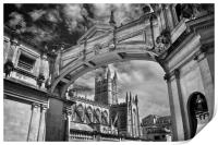 Bath Abbey and Arch in Mono                      , Print
