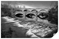 Norfolk Bridge and Burton Weir                    , Print