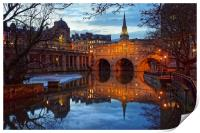 Pulteney Bridge and River Avon in Bath            , Print