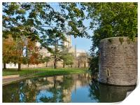 wells cathedral moat and bishopspalace, Print