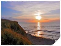SUNSET AT KILVE BEACH SOMERSET, Print