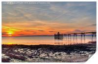 Clevedon Pier Beach At Sunset, Print