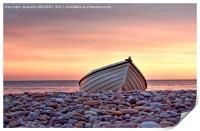 Budleigh Boat On The Pebbles, Print
