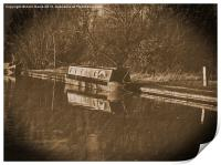Vintage canal narrowboat duckett, Print