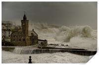 Porthleven battered by huge waves, Print