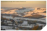 Snow fields over Bath first light, Print