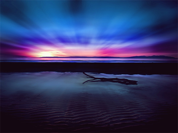 Sunset Over Troon Beach, Wood Print