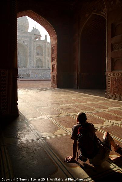 Tourist Photographing Taj Mahal