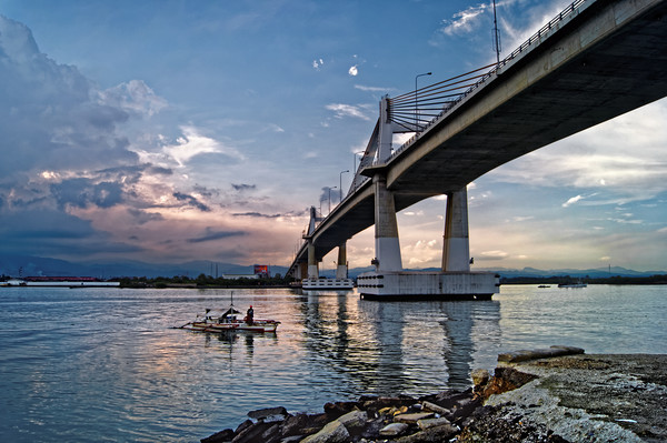 Marcelo Fernan Bridge at Sunset                   , Wood Print