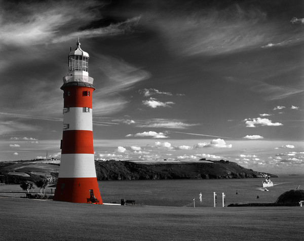 Smeatons Tower on Plymouth Hoe, Wood Print